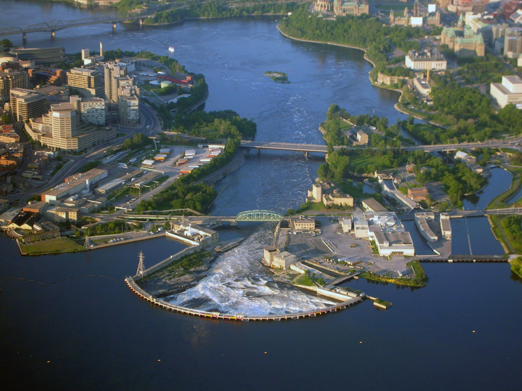 The sacred place of the vision: Chaudiere Falls between Ottawa and Hull in Canada.